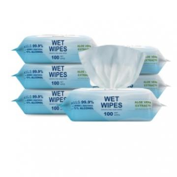 75% Bag Pack Portable Wholesale Cheap Portable Disinfectant Wipes with Alcohol Nonwoven Wet Wipes for Baby Adults Students Elder