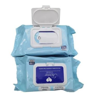 Cleaning Wipes Manufacturer 100PCS 99.9% Sterilization Germ Effect 75% Isopropyl Alcohol Disinfectant Wet Wipes with Bucket Canister Package