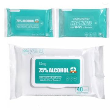 Visbella Aloe 70% 75% Alcohol Anti-Bacterial Non Woven Wet Wipes Kills Germs